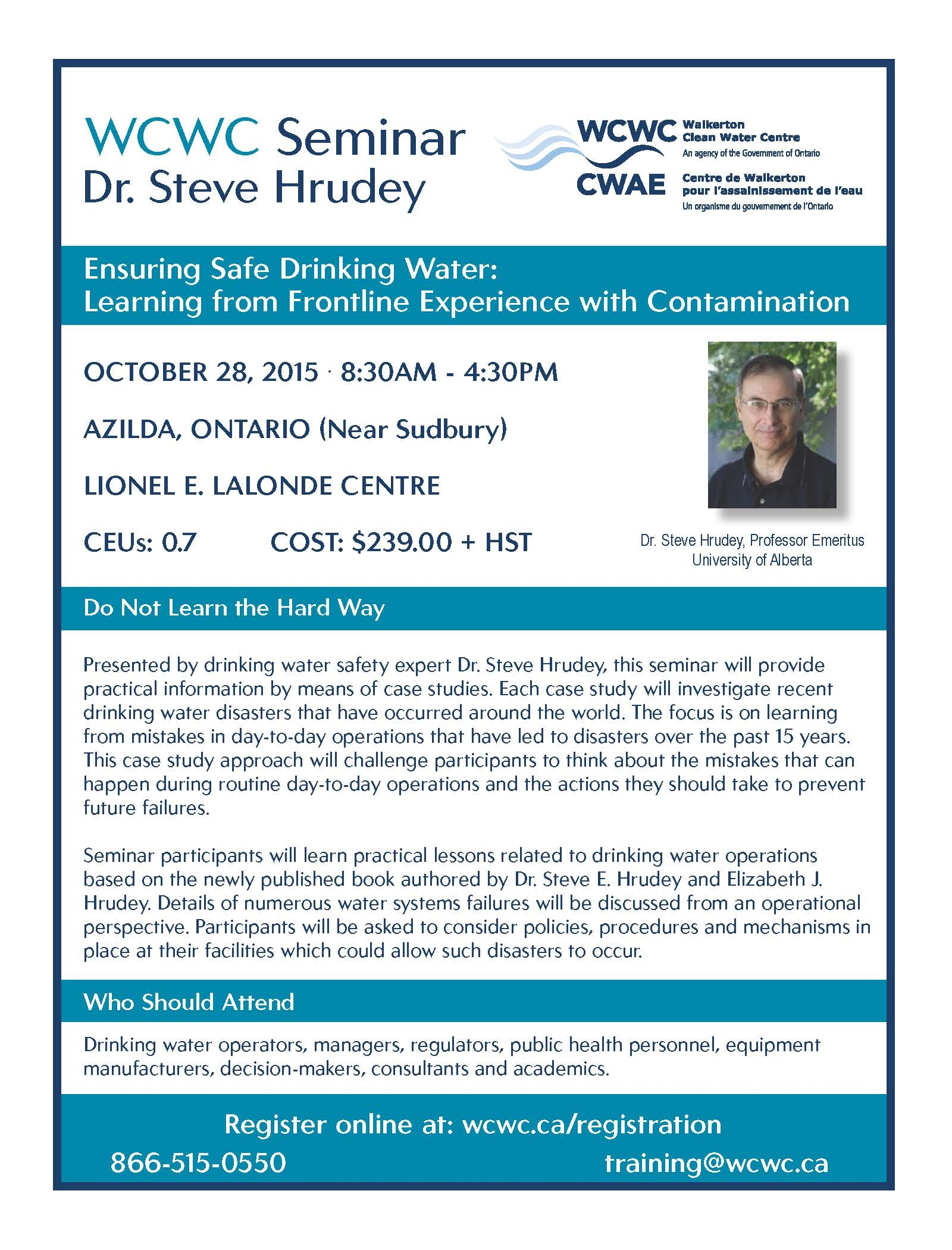 Register now for Dr Steve Hrudey Seminar!
